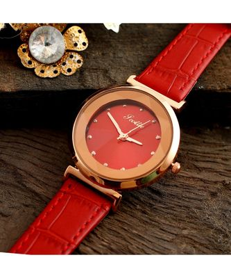 Orange Stylish Diamond Shape Glass Design Watch