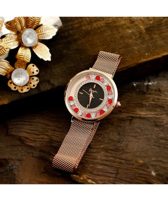 Rose Gold Dancing Diamond Adjustable Magnetic Belt Watch