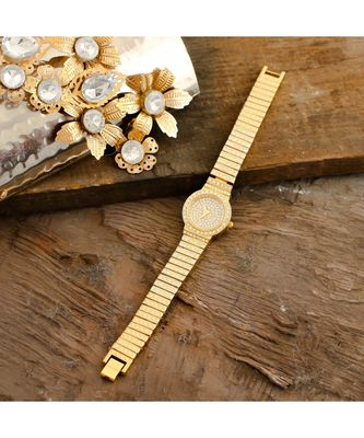 Golden Beautiful Designer Smart Look Elegant Small Dail Watch
