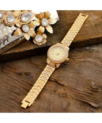 Golden Classy Diamond Designer Party Watch