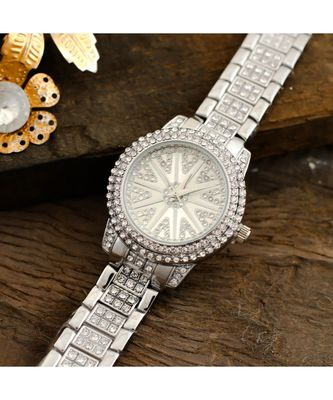 Siver Diamond Stylish Royal Designer Party Watch