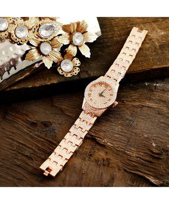 Rose Gold Smart Look Designer Full Of Diamond Watch