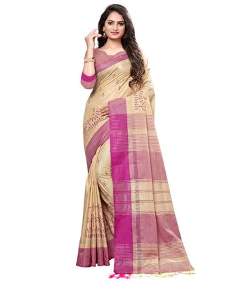 Beige embroidered cotton saree with blouse
