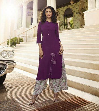 Purple Embroidered Rayon Ethnic Kurtis