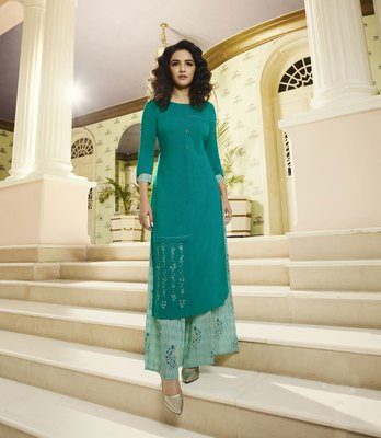 Sea-green embroidered rayon ethnic-kurtis