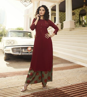 Maroon Embroidered Rayon Ethnic Kurtis