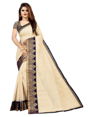 Cream plain chanderi saree with blouse