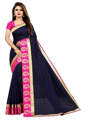 Navy blue plain chanderi saree with blouse