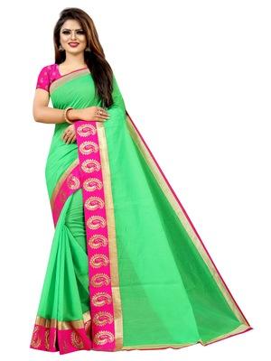 Parrot green plain chanderi saree with blouse