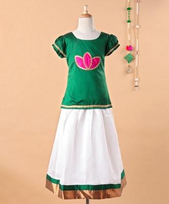 Green printed art silk kids-pavadai-set