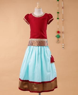 Maroon plain cotton silk kids-pavadai-set