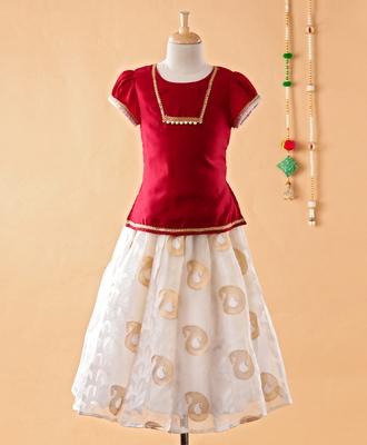 Maroon printed cotton silk kids-pavadai-set