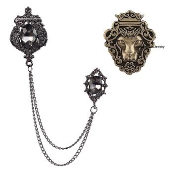 Black crystal brooch