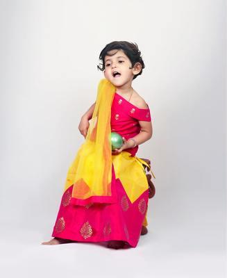 Pink printed kanchipuram silk kids-pavadai-set