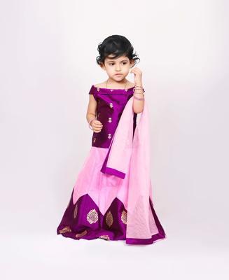 Purple printed kanchipuram silk kids-pavadai-set