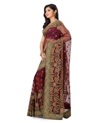 maroon embroidered super_net saree with blouse