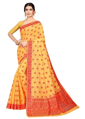 Women'S Designer  Banarasi Cotton Saree With Designer Blouse