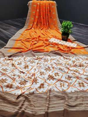 Orange printed georgette saree with blouse