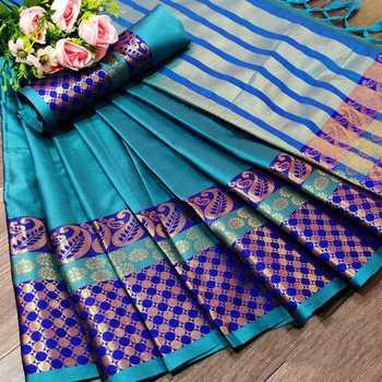 Sky blue woven kanchipuram silk saree with blouse