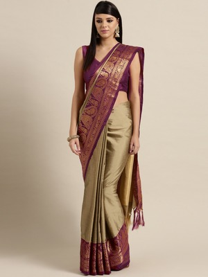 Beige woven kanchipuram silk saree with blouse