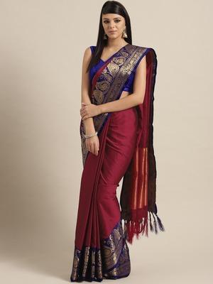 Magenta woven kanchipuram silk saree with blouse