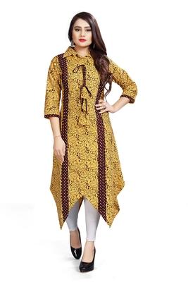 Ashda Yellow Collar Neck Designer Ethnic Ready To Wear Kurti