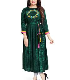 Dark Green Rayon Indian Ethnic Ready To Wear Designer Kurti With Embroidery Work