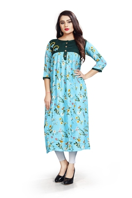 Light Blue Floral Ethnic Bollywood Style Ready To Wear Kurti With Embroidery Work