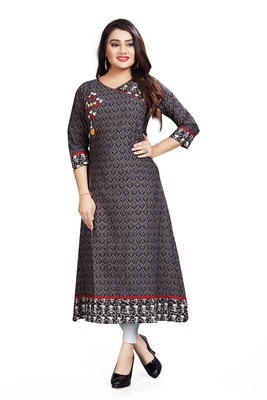 Grey Printed Designer Kurti With Embroidery Work Ready To Wear