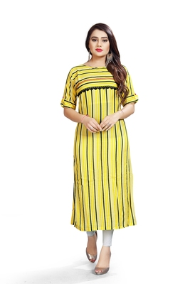Yellow Striped Bollywood Style Indian Ethnic Designer Ready To Wear Kurti