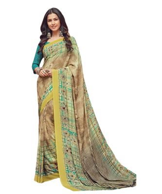 Women's Beige & Green Crepe printed Saree with Blouse Piece