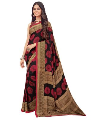 Women's Maroon & Black Crepe printed Saree with Blouse Piece