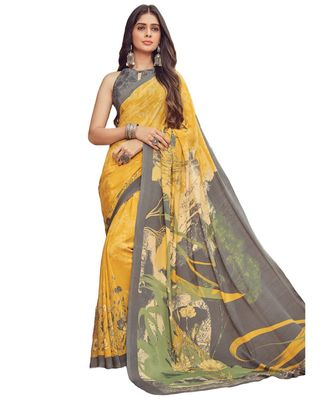 Women's Yellow & Grey Crepe printed Saree with Blouse Piece