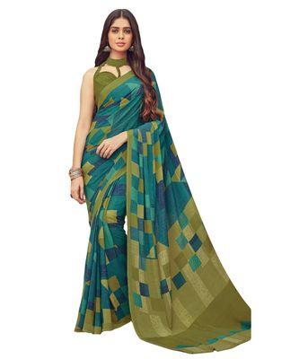 Women's Green & Mehendi Crepe printed Saree with Blouse Piece