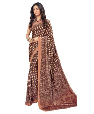 Women's Burgundy & Beige Crepe printed Saree with Blouse Piece