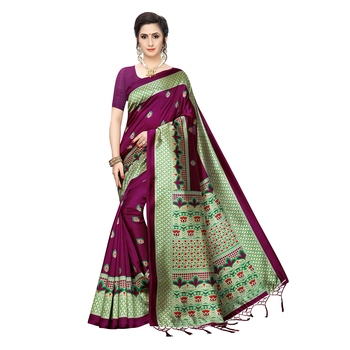 Magenta printed khadi saree with blouse