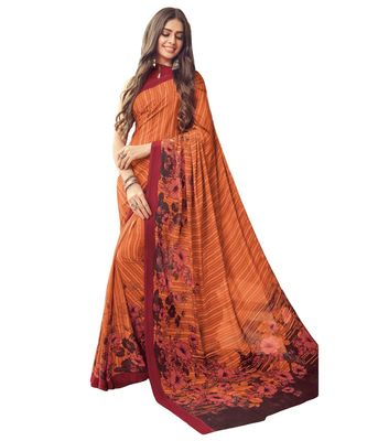 Women's Orange & Maroon Crepe printed Saree with Blouse Piece