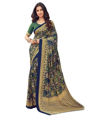 Women's Dark Blue & Beige Crepe printed Saree with Blouse Piece