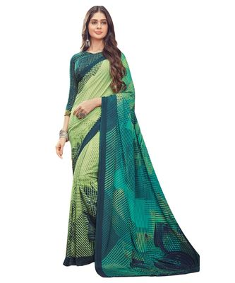 Women's Turquoise & Green Crepe Printed Saree With Blouse Piece