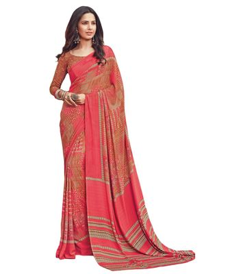Women's Peach & Beige Crepe printed Saree with Blouse Piece