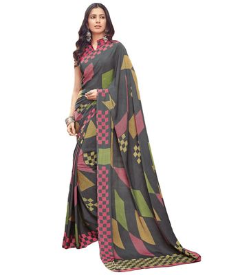 Women's Grey & Pink Crepe printed Saree with Blouse Piece