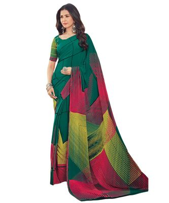 Women's Peacock Green & Multi Crepe printed Saree with Blouse Piece