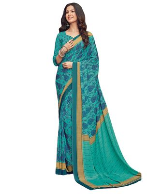 Women's Sky Blue Crepe printed Saree with Blouse Piece