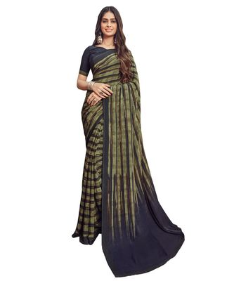 Women's Bronze Green & Black Crepe printed Saree with Blouse Piece