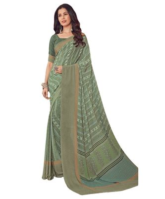 Women's Pale Green Crepe printed Saree with Blouse Piece