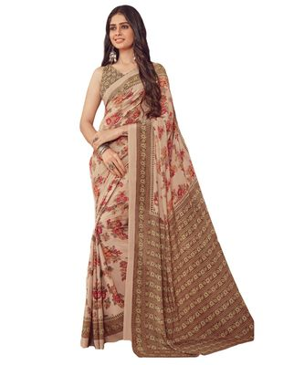 Women's Beige & Brown Crepe printed Saree with Blouse Piece