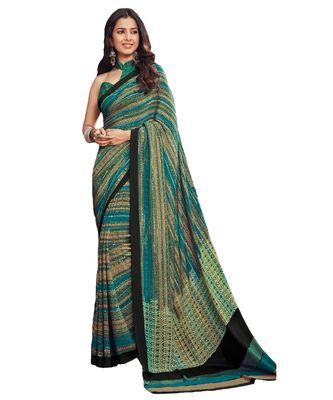 Women's Turquoise & Beige Crepe printed Saree with Blouse Piece