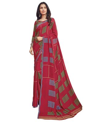 Women's Maroon & Green Crepe printed Saree with Blouse Piece