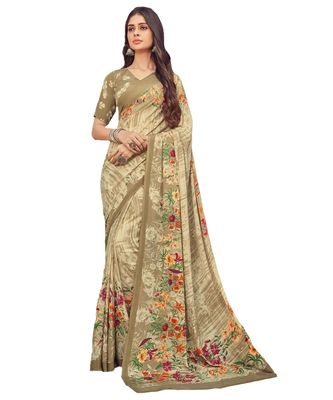 Women's Beige Crepe printed Saree with Blouse Piece