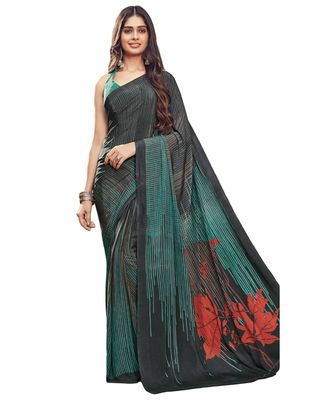 Women's Black & Turquoise Crepe printed Saree with Blouse Piece